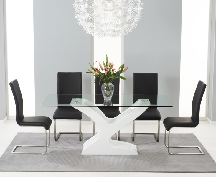 Mark Harris Natalie White High Gloss Glass Top Dining Set with 6 Black Malibu Dining Chairs