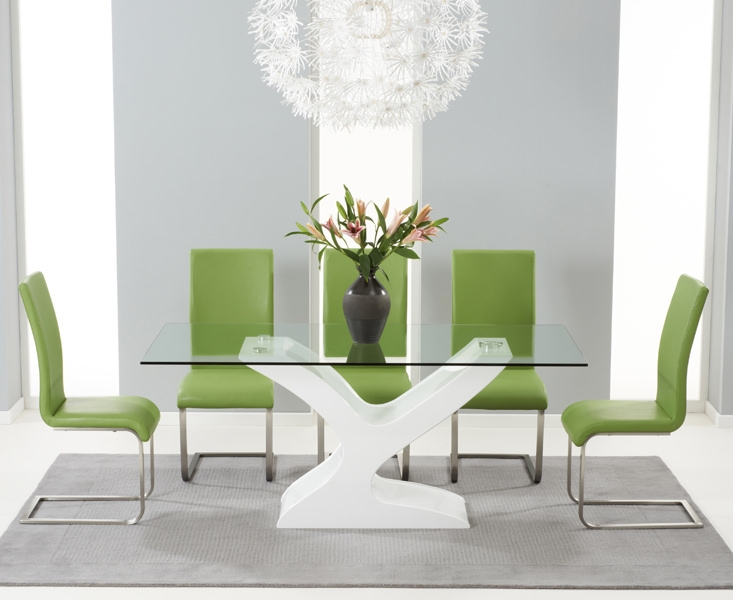 Mark Harris Natalie White High Gloss Glass Top Dining Set with 6 Green Malibu Dining Chairs