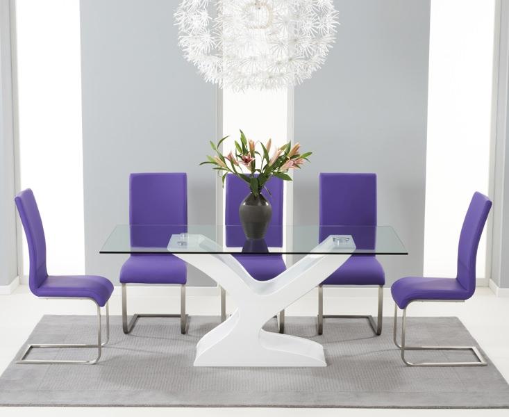 Mark Harris Natalie White High Gloss Glass Top Dining Set - with 6 Purple Malibu Chairs