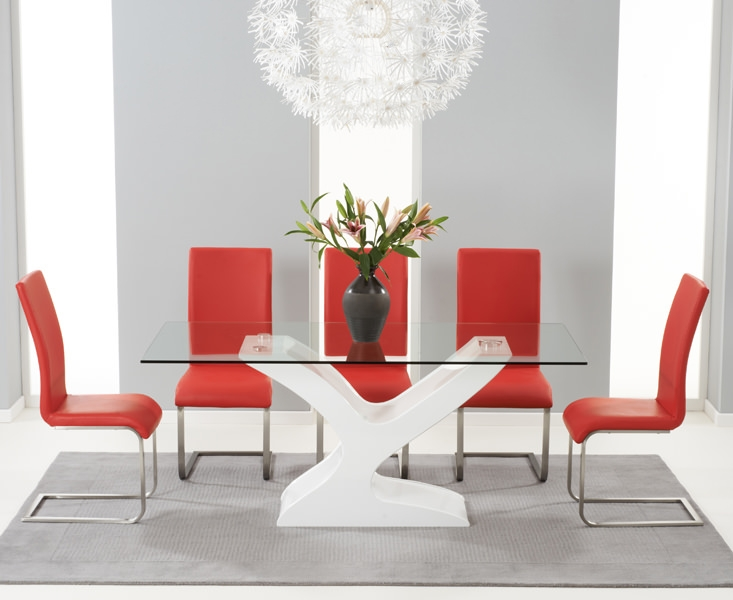 Mark Harris Natalie White High Gloss Glass Top Dining Set with 6 Red Malibu Dining Chairs