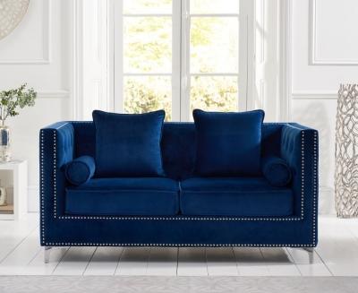 Mark Harris New England Blue Velvet 2 Seater Sofa
