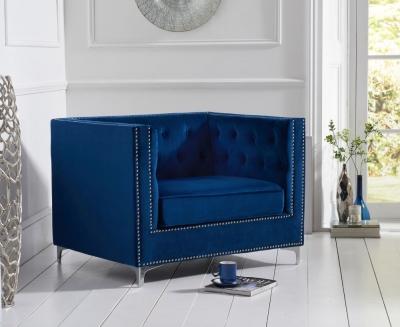 Mark Harris New England Blue Velvet Armchair