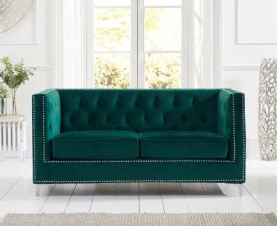 Mark Harris New England Green Velvet 2 Seater Sofa