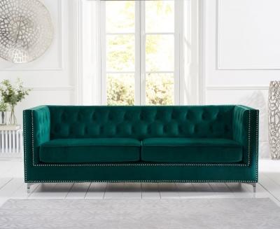 Mark Harris New England Green Velvet 4 Seater Sofa