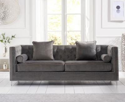 Mark Harris New England Grey Velvet 4 Seater Sofa