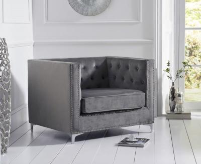 Mark Harris New England Grey Velvet Armchair