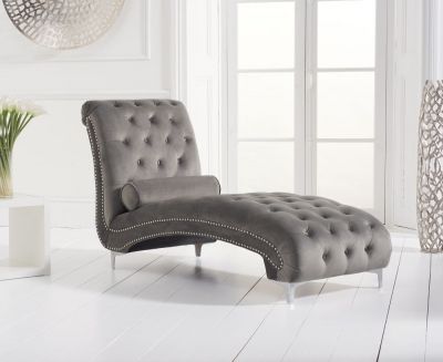 Mark Harris New England Grey Velvet Chaise Longue