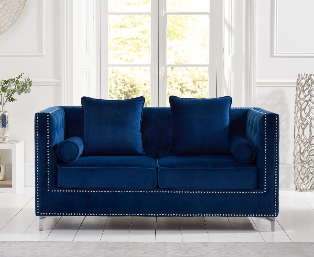 Mark Harris New England Blue Velvet 2 Seater Sofa