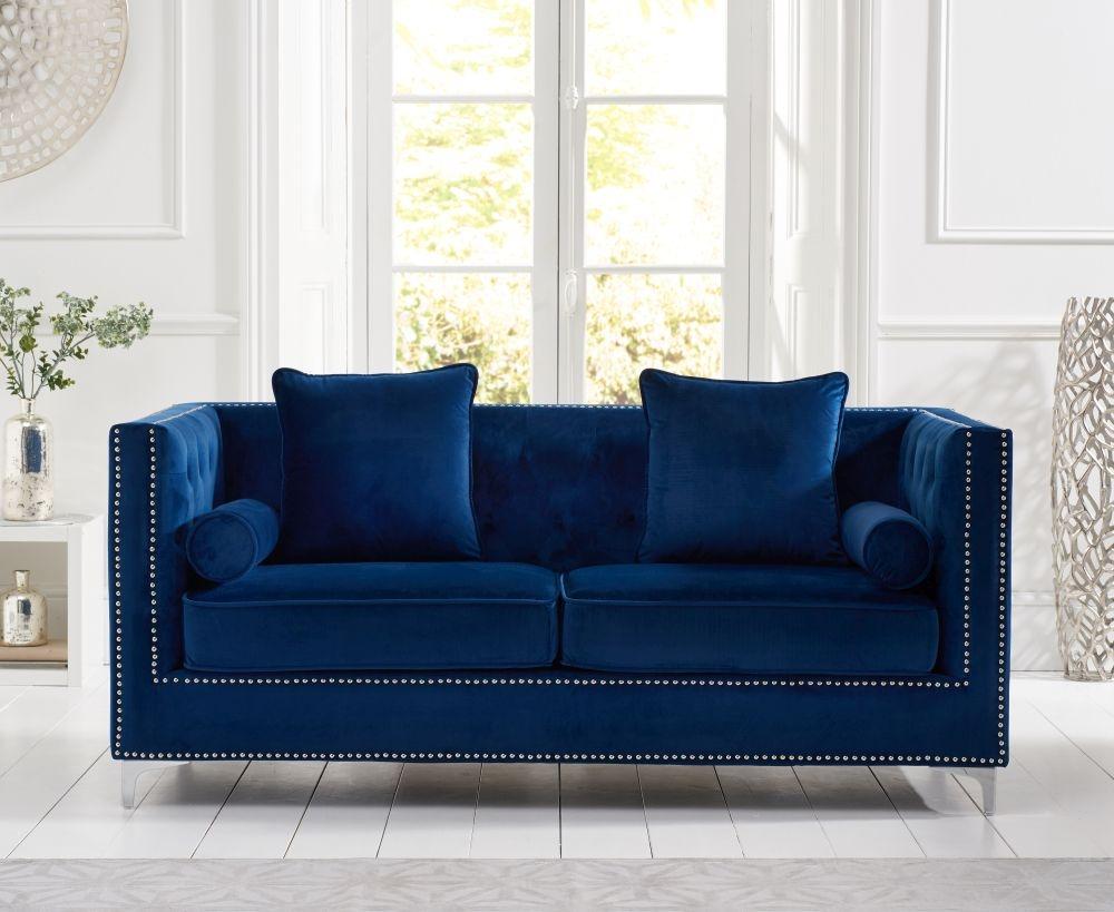 Mark Harris New England Blue Velvet Fabric 3 Seater Sofa