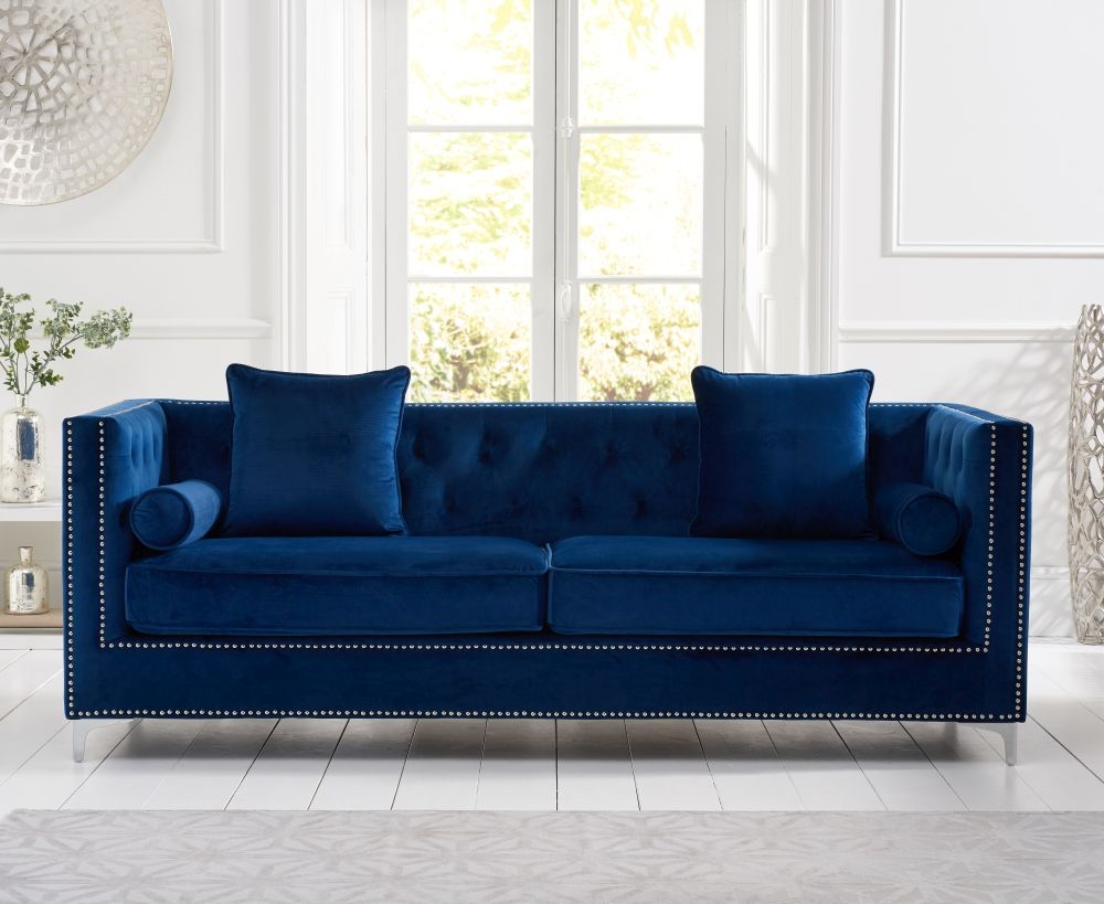 Mark Harris New England Blue Velvet Fabric 4 Seater Sofa
