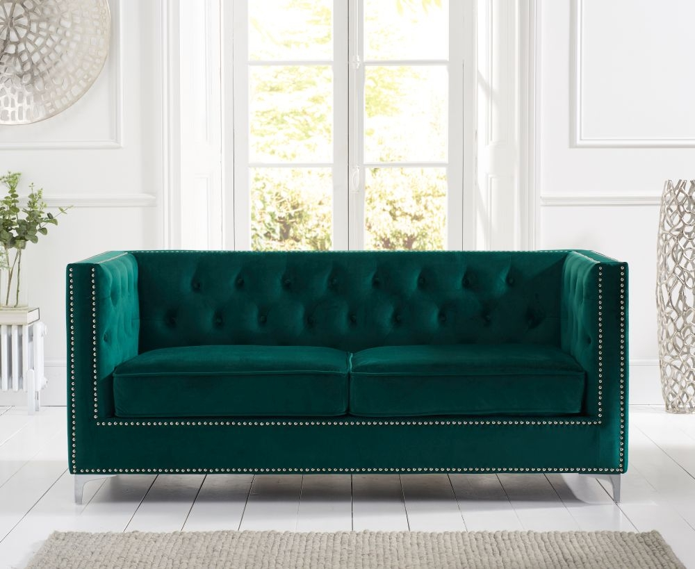Mark Harris New England Green Velvet 3 Seater Sofa
