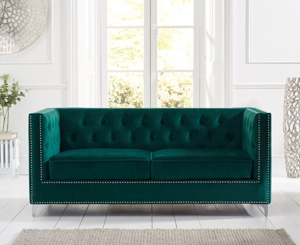 Mark Harris New England Green Velvet Fabric 3 Seater Sofa
