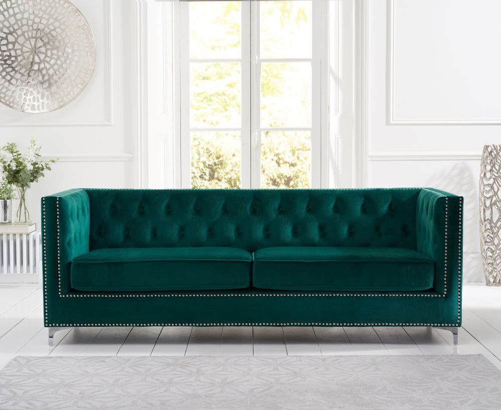 Mark Harris New England Green Velvet 4 Seater Sofa