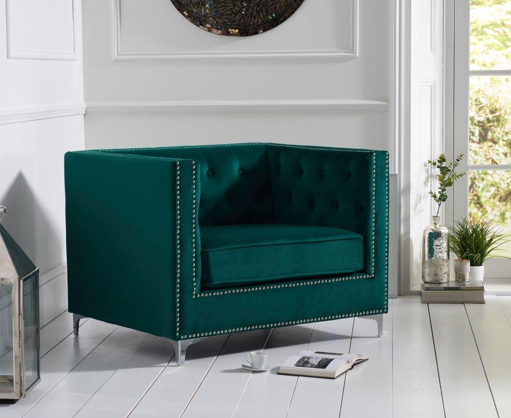 Mark Harris New England Green Velvet Fabric Armchair