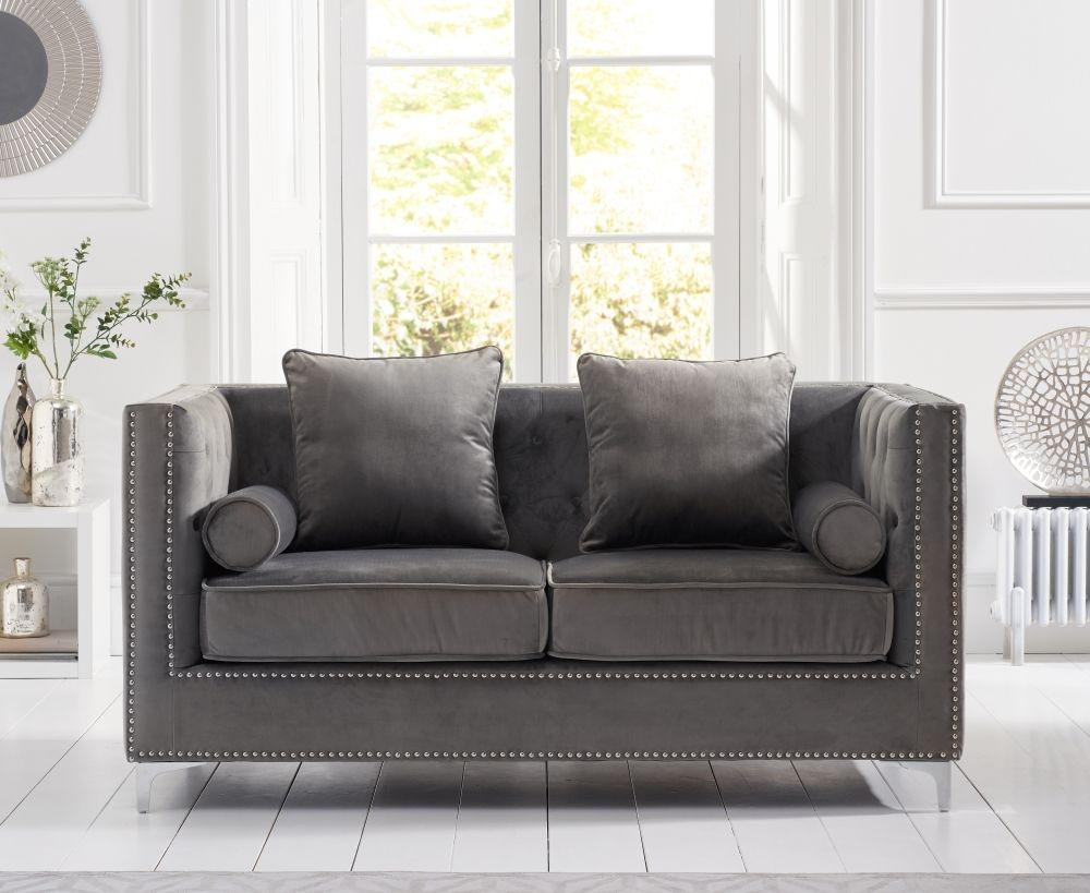 Mark Harris New England Grey Velvet 2 Seater Sofa