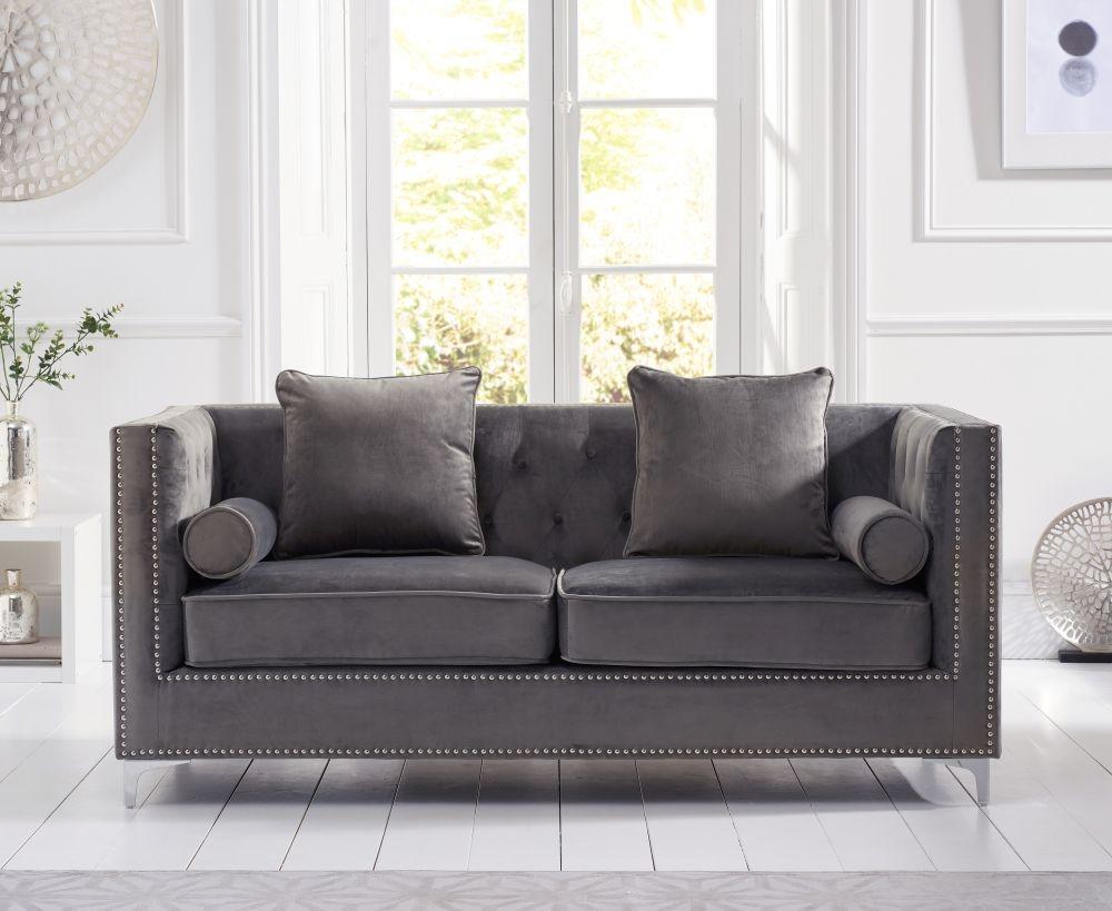 Mark Harris New England Grey Velvet 3 Seater Sofa