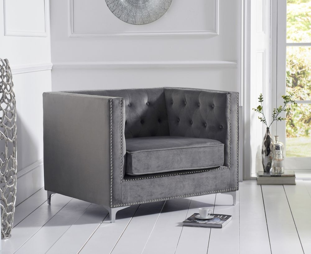 Mark Harris New England Grey Velvet Armchair