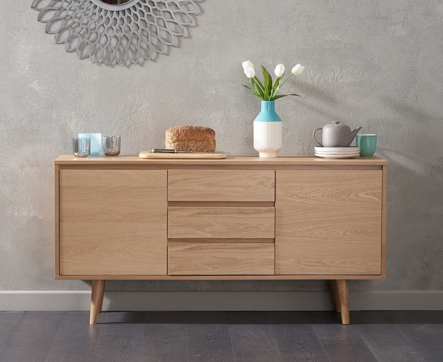 Mark Harris Newark Oak Sideboard - Medium 2 Doors 3 Drawers