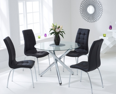 Mark Harris Odessa 100cm Glass Round Dining Set with 4 California Black Dining Chairs