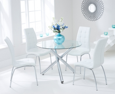 Mark Harris Odessa 100cm Glass Round Dining Set with 4 California White Dining Chairs