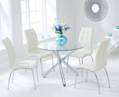Mark Harris Odessa Glass Round Dining Table and 2 California Chairs - Chrome and Cream
