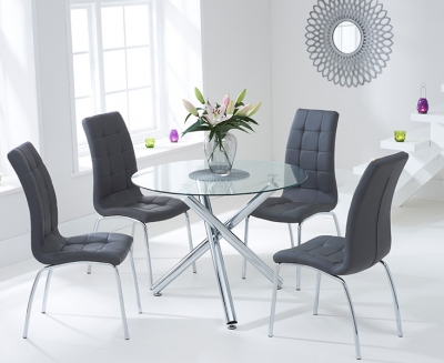 Mark Harris Odessa Glass Round Dining Table and 2 California Chairs - Chrome and Grey