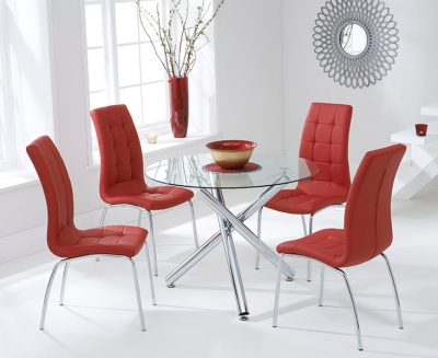Mark Harris Odessa Glass Round Dining Table and 2 California Chairs - Chrome and Red