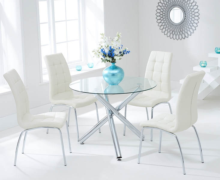 Mark Harris Odessa 100cm Glass Round Dining Table with 4 California Cream Chairs