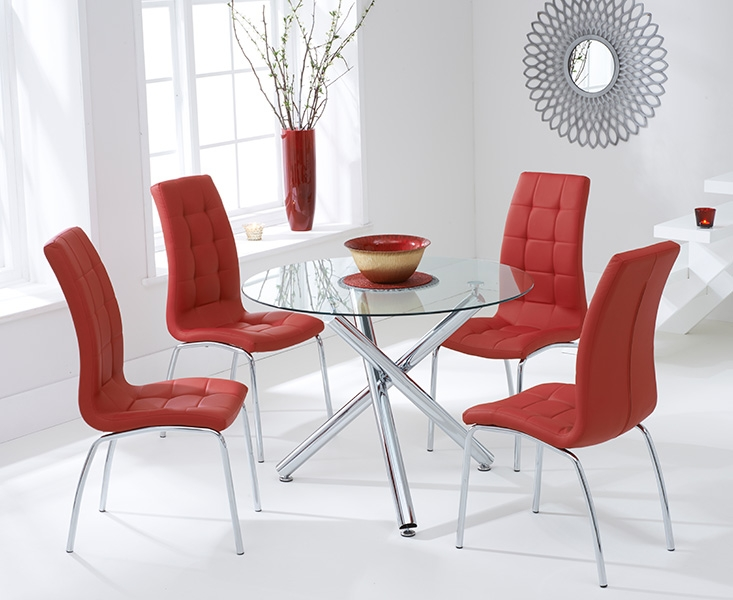 Mark Harris Odessa 100cm Glass Round Dining Set with 4 California Red Dining Chairs