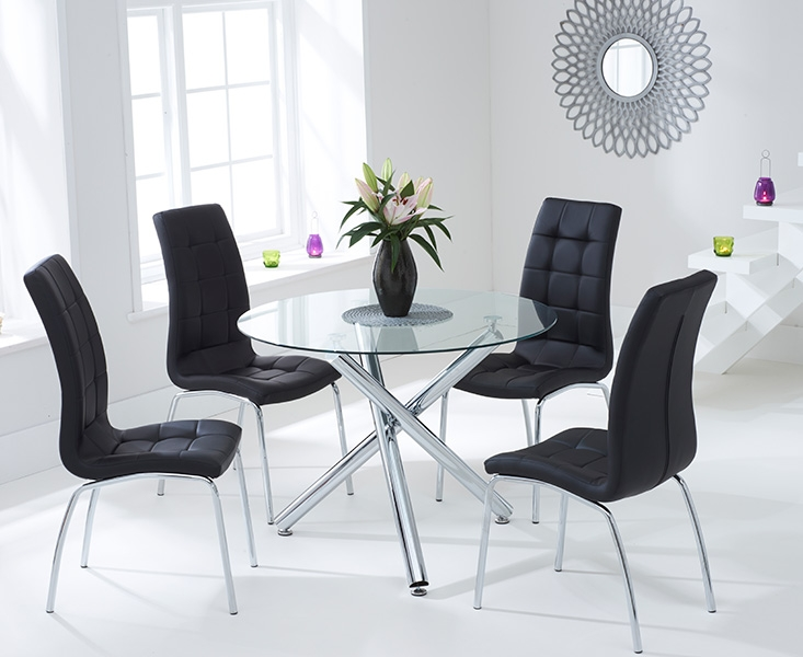 Mark Harris Odessa Glass Round Dining Set with 2 California Black Chairs - 100cm