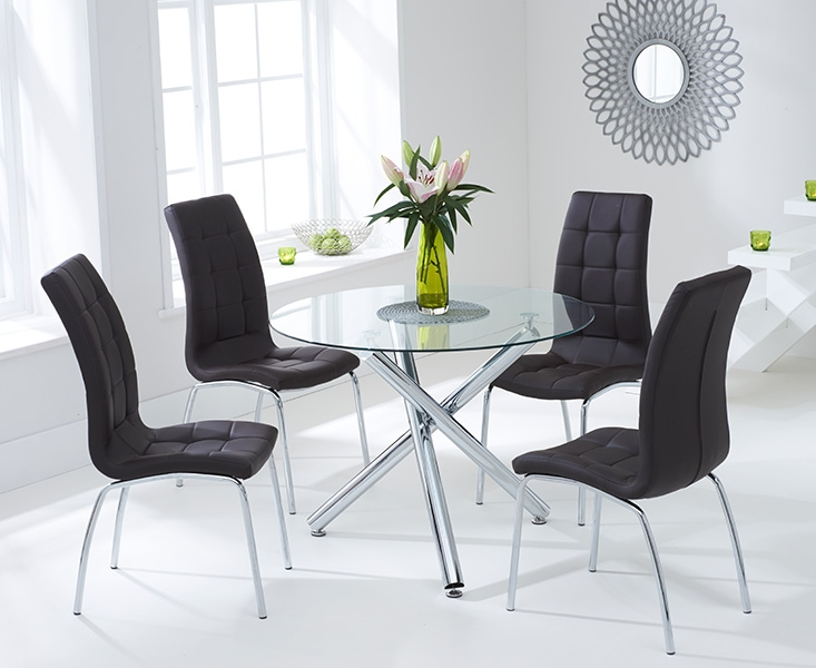 Mark Harris Odessa 100cm Glass Round Dining Table and 4 California Brown Chairs