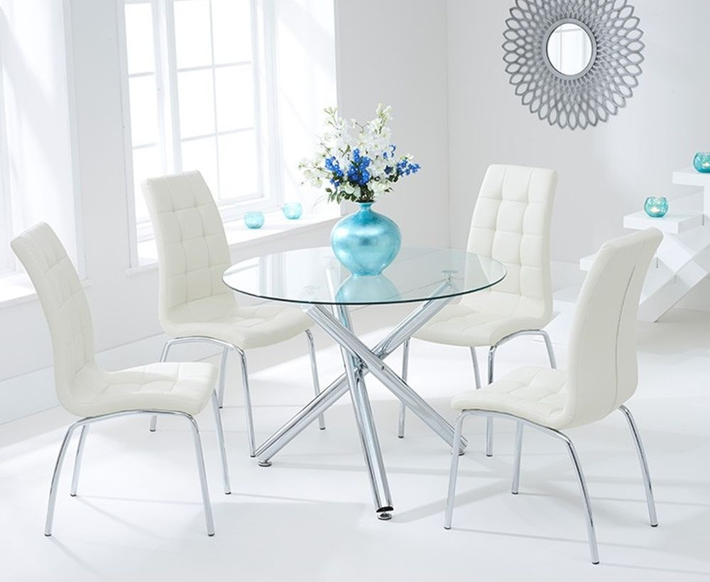 Mark Harris Odessa Glass Round Dining Table and 4 California Chairs - Chrome and Cream