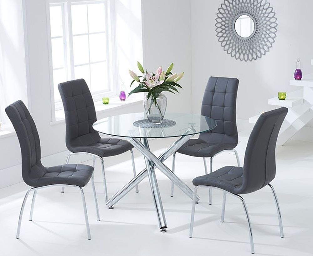 Mark Harris Odessa Glass Round Dining Table and 4 California Chairs - Chrome and Grey