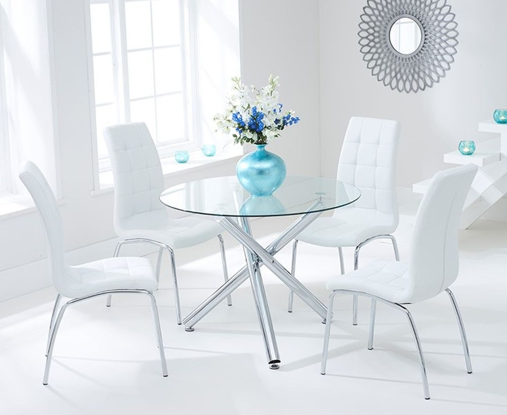 Mark Harris Odessa Glass Round Dining Table and 4 California Chairs - Chrome and White