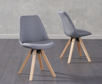 Mark Harris Olivier Dark Grey Fabric Dining Chair with Square Legs (Pair)