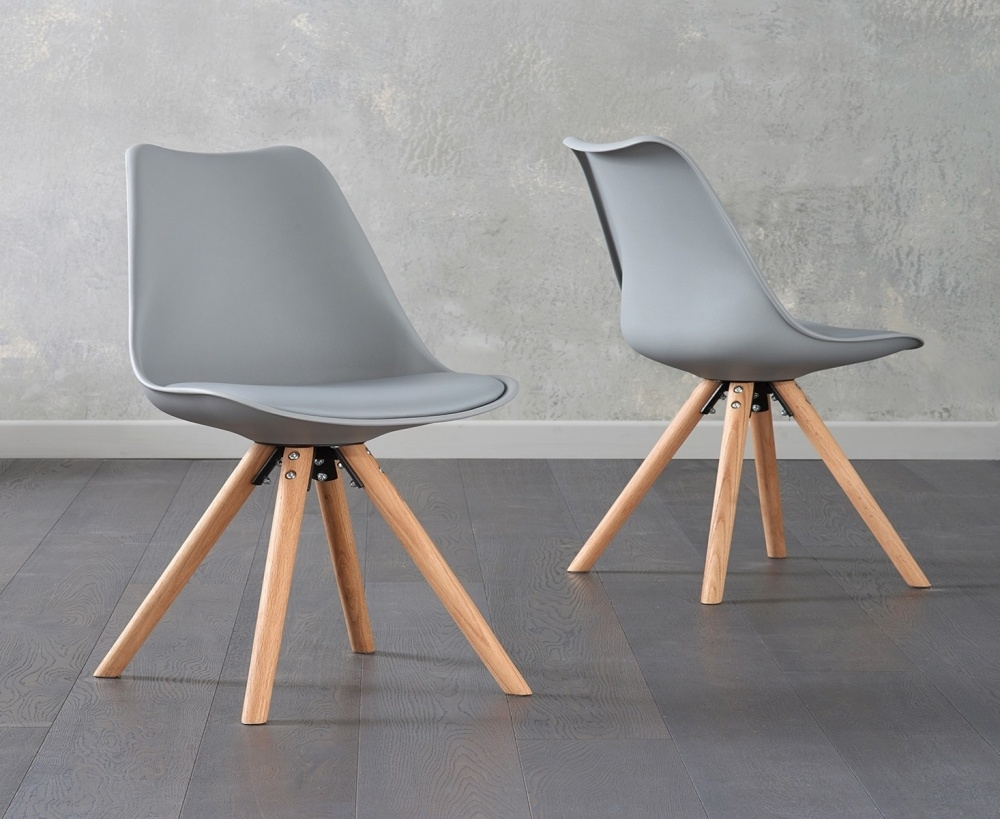 Mark Harris Olivier Light Grey Faux Leather Dining Chair with Round Legs (Pair)