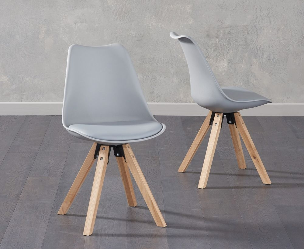 Mark Harris Olivier Light Grey Faux Leather Dining Chair with Square Legs (Pair)