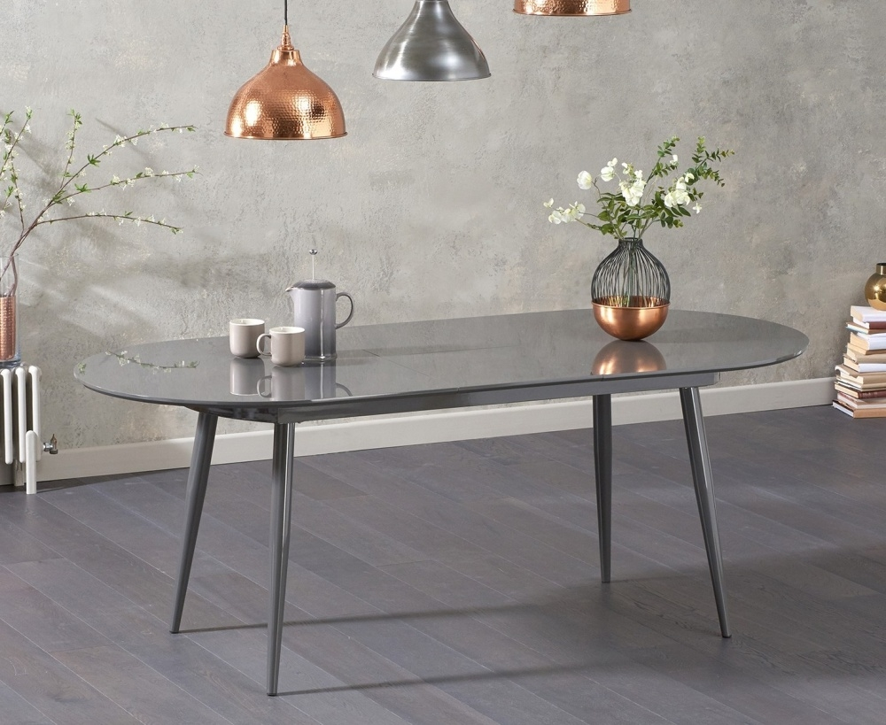 Mark Harris Opel Grey High Gloss Dining Table - 160cm Oval Extending