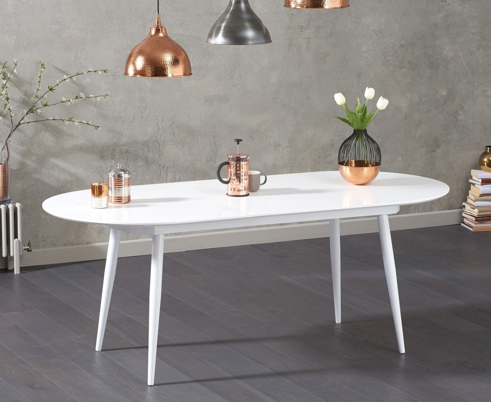 Mark Harris Opel White High Gloss Dining Table - 160cm Oval Extending