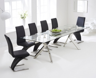 Mark Harris Palazzo 200cm Glass Extending Dining Table with 6 Hereford Z Black Chairs