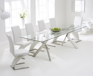 Mark Harris Palazzo 200cm Glass Extending Dining Table with 6 Hereford Z White Chairs