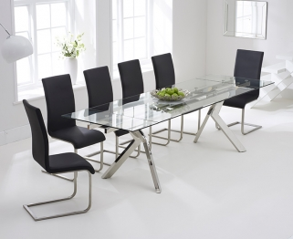 Mark Harris Palazzo 200cm Glass Extending Dining Set with 6 Malibu Black Dining Chairs