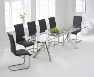 Mark Harris Palazzo 200cm Glass Extending Dining Table with 6 Malibu Grey Chairs