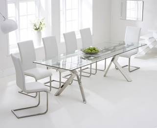 Mark Harris Palazzo 200cm Glass Extending Dining Set with 6 Malibu White Dining Chairs