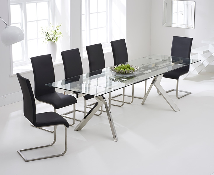 Mark Harris Palazzo 200cm Glass Extending Dining Table with 6 Malibu Black Chairs