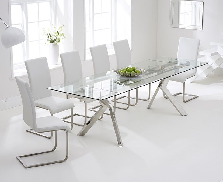 Mark Harris Palazzo 200cm Glass Extending Dining Table with 6 Malibu White Chairs