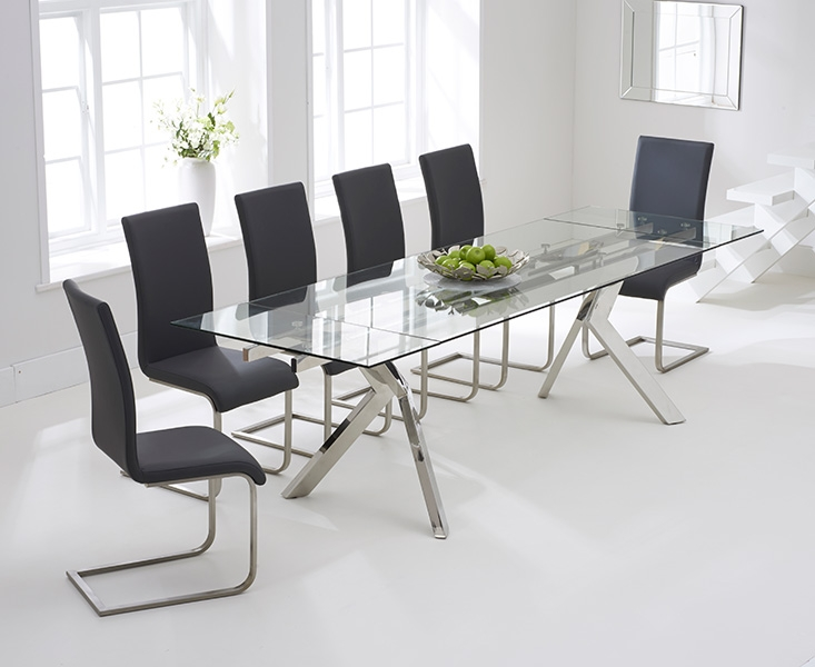 Mark Harris Palazzo Glass Dining Set - 200cm Extending with 6 Malibu Grey Chairs