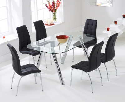 Mark Harris Pantheon 160cm Glass Dining Table with 6 California Black Chairs