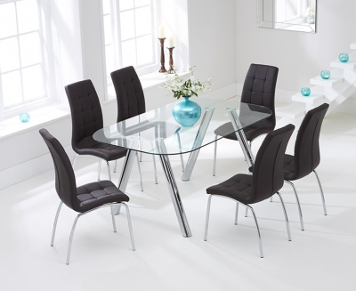 Mark Harris Pantheon 160cm Glass Dining Set with 6 California Brown Dining Chairs