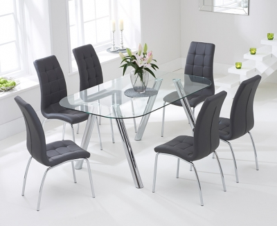 Mark Harris Pantheon 160cm Glass Dining Set with 6 California Grey Dining Chairs
